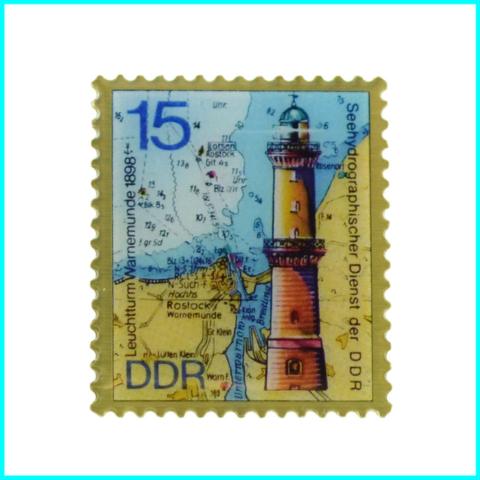 magnet-briefmarke-metall-leuchtturm warnemünde